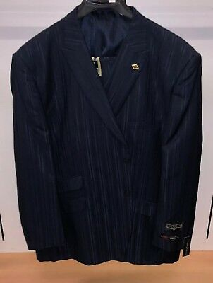 NWT Stacy Adams 46R Navy Blue Fashion Striped Exotic Harvey Suit 3PC WOW Steve for sale  Seaford