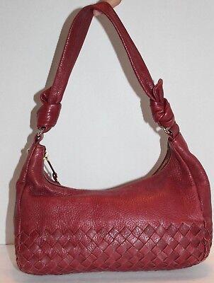 Woven Hobo Handbag - ELLIOTT LUCCA Burgundy Leather Woven Hobo Shoulder Bag Handbag FREE Shipping!