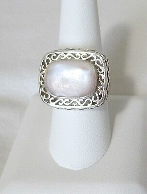 Mother of Pearl Ring w Filigree Rim Set on 925 Silver. Ladies Size 8.5   NWT