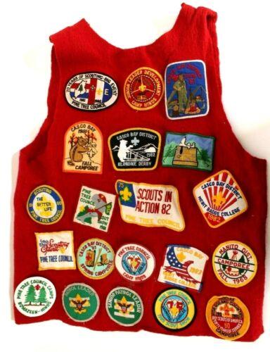 Vintage Pine Tree Council Red Patch Vest Boy Scouts BSA w/ 24 Patches