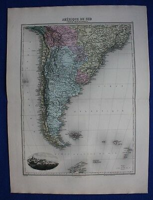 Original antique map SOUTH AMERICA, ARGENTINA, CHILE, FALKLANDS, Migeon, 1891