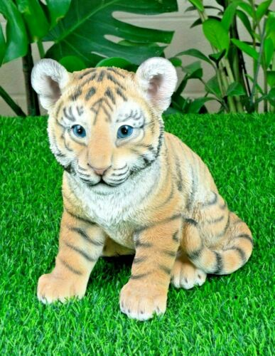 "10"" SITTING TIGER FIGURINE STATUE LIFELIKE COLLECTIBLE ANIMAL HOME DECORATION"