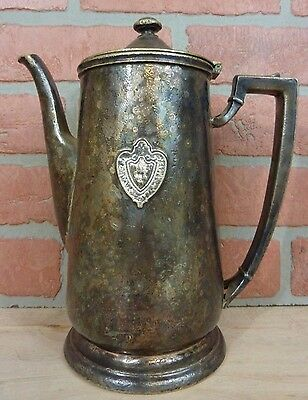 Antique Conrad Hilton Silver Soldered Pitcher Coffee Pot Hotel Advertising