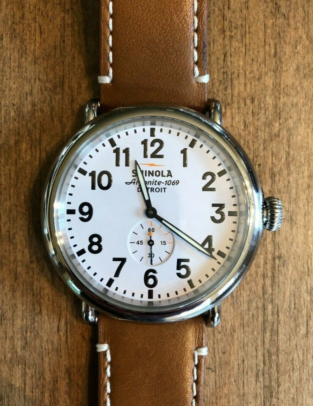 Men's Shinola The Runwell 47 mm Stainless Steel Watch w/ Tan Band  Argonite 1069