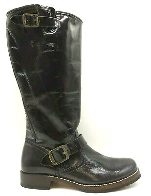 Frye Black Patent Leather Double Buckle Pull On Riding Boots Shoes Women's 8.5 B Black Patent Riding Boot