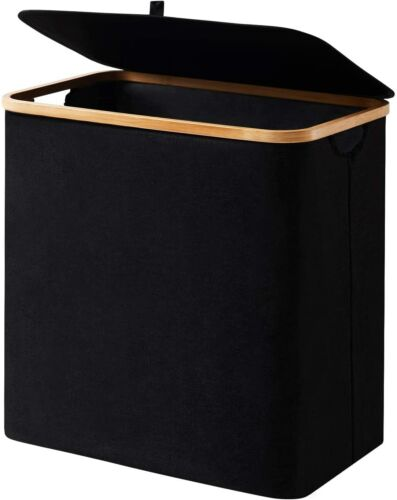 Youdenova Laundry Basket With Lid 90L Large Bamboo Dirty Clothes Hamper Black