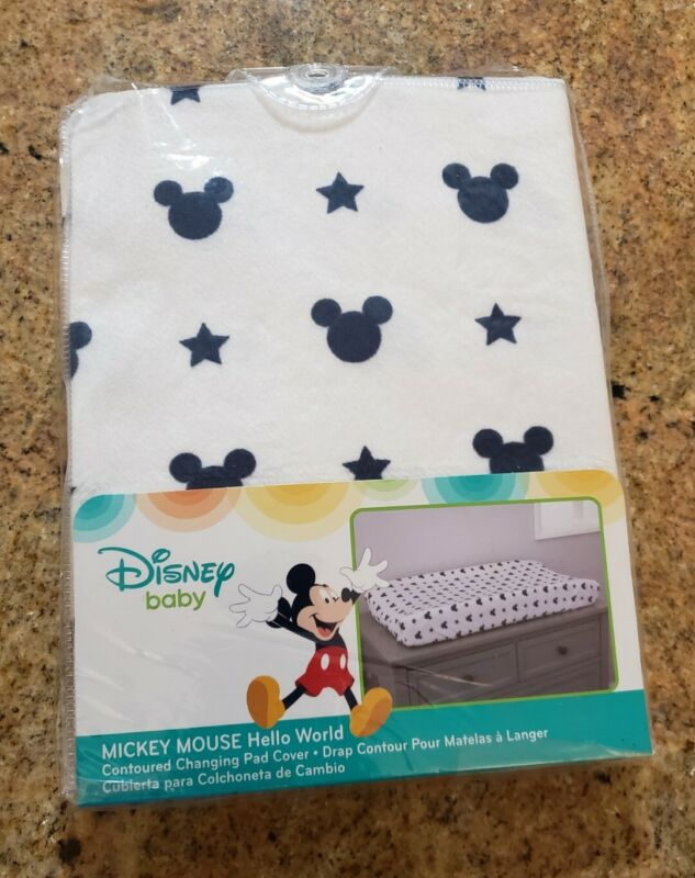 Disney Baby Mickey Mouse Contoured Changing Pad Cover NIP Blue/White