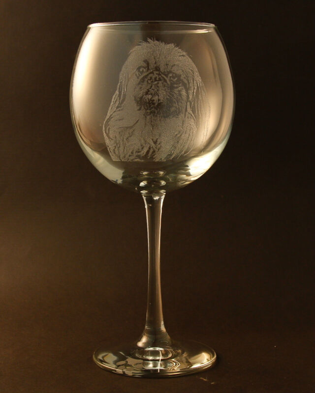 New! Etched Pekingese on Large Elegant Wine Glasses - Set of 2