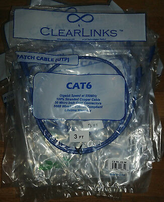 CAT 6 PATCH CABLE RJ45 3 FEET BLUE CLEARLINKS SEALED NEW FREE SHIP CERTIFIED