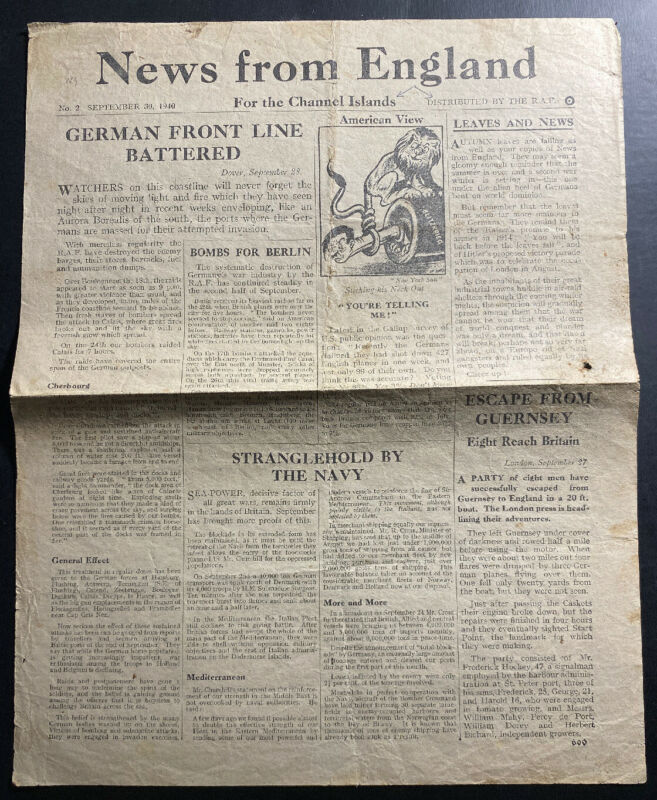 Original England WWII Information Newspapers Leaflet Dropped On Channel Islands