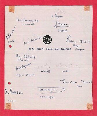 14 Orig.Autogramme   CS FOLA ESCH (Luxemburg)  - 70ziger Jahre  !!  SELTEN
