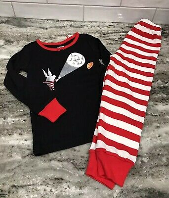 Glow In The Dark Girls Pajamas (NEW Gymboree Olivia Glow in the Dark Girls Red Black White Pajamas Size)