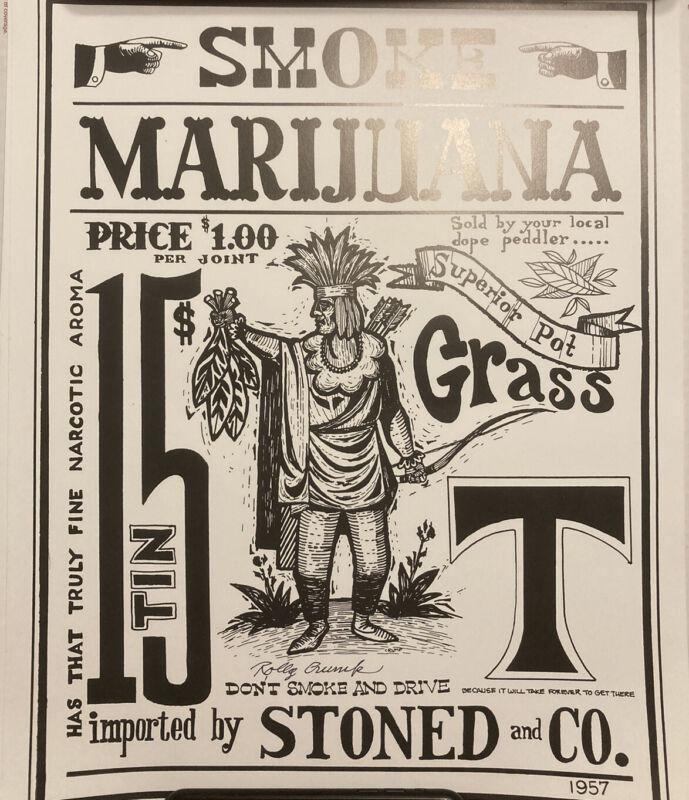 Rolly Crump Disney Imagineer Signed Original Artwork Print Marijuana 13X17