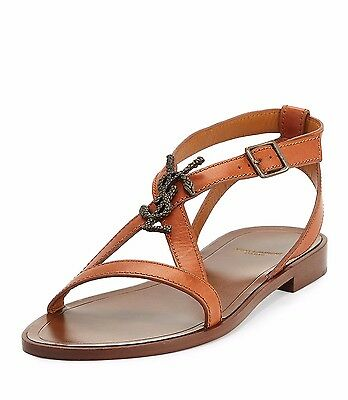 Yves Saint Laurent Nu Pieds Brown Leather Monogram Logo Serpent Flat Sandal 5.5