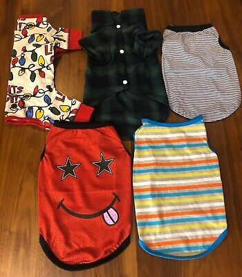 DOG PUPPY CLOTHING LOT MALE BOY SHIRT PAJAMAS PJS LOT OF 5 LARGE XL 8-12 LBS GUC Dog Puppy Mint