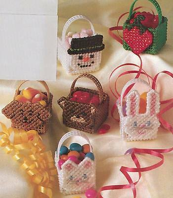 BASKET BUDDIES SNOWMAN CAT DOG BEAR PLASTIC CANVAS PATTERN INSTRUCTIONS