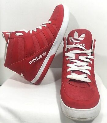 Adidas Mens White Red Casual High Top Sneakers Size 13