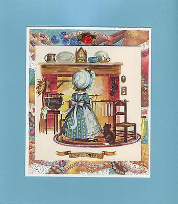 VINTAGE KITCHEN GIRL KITTEN CAT CANDLE MAKING CLOCK CORN COLLAGE PICTURE PRINT