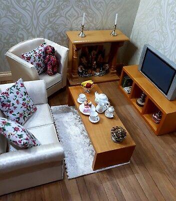 dolls house living room sofa tv wood furniture assessories bundle mixed items