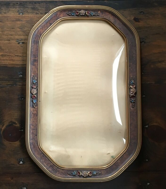 Antique Convex Bubble Glass Carved Wooden Picture Frame