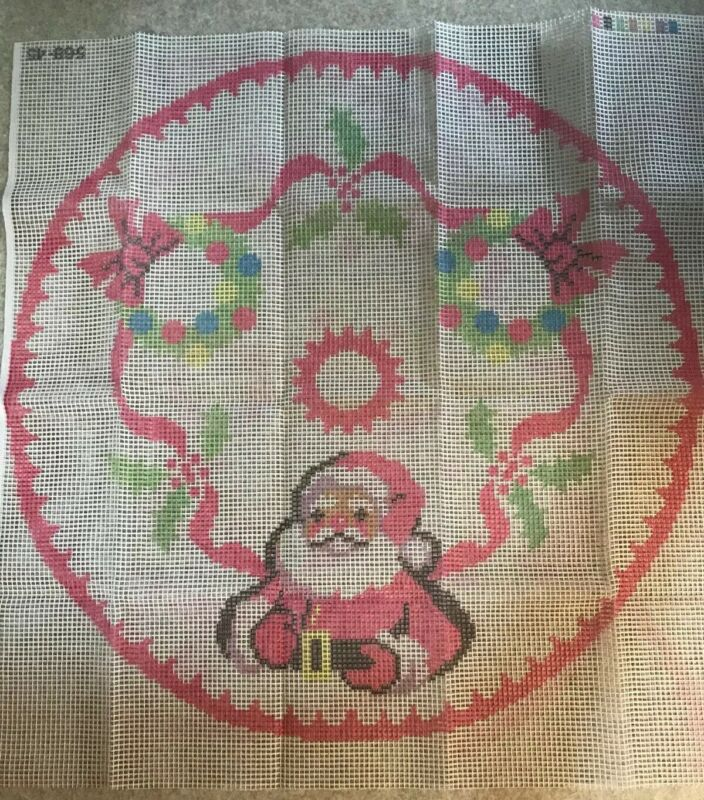 "Vintage 70s Paragon latch hook rug canvas Large 45"" Santa Christmas Tree Skirt"