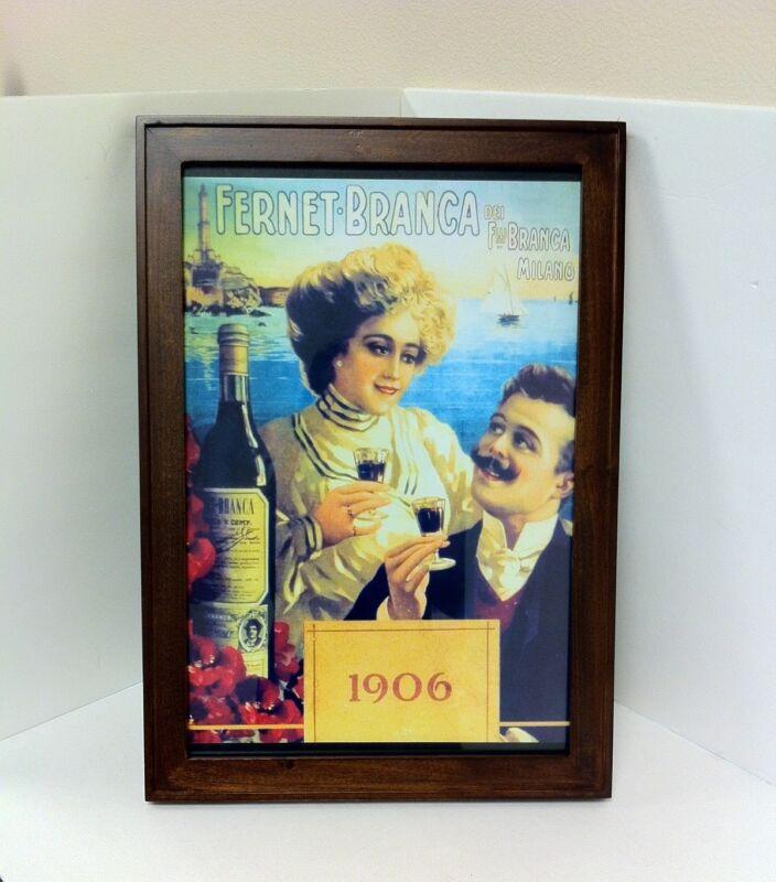 Fernet Branca Wood Framed Advertising Poster - NEW!!