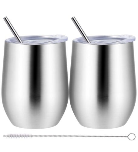 Set Of 2 Wine Tumbler Double-insulated Stainless Steel Cup w