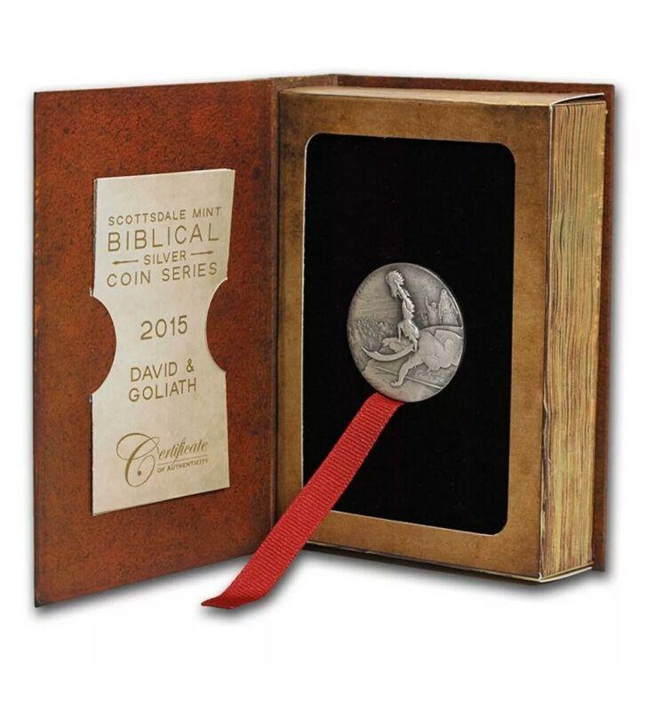 2015 Scottsdale Mint Biblical Series 2 oz Silver David and Goliath SEALED EBUX