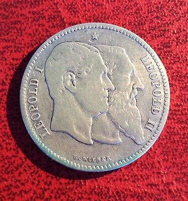 Belgique - Léopold II - Rare et Joli 2 Francs  1880 - Cinquantenaire Belgique (2