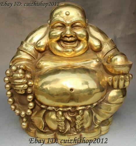 "15"" Chinese Buddhism Bronze Seat Happy Laugh Maitreya Buddha Hold Yuanbao statue"