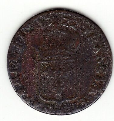 Rare 1722 H copper half sol, similar fabrication than 9 deniers Colonies, Var. for sale  Quebec
