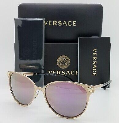 NEW Versace sunglasses VE2168 14095R 57mm Gold Dark Grey Pink Mirror (Versace Pink Sunglasses)