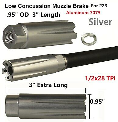 Silver .602 Ruger/'s 22 Charger Low Concussion Muzzle Brake Compensator 1//2x28