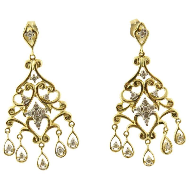 Vintage 14 Karat Yellow Gold and Diamond Chandelier Earrings #4266
