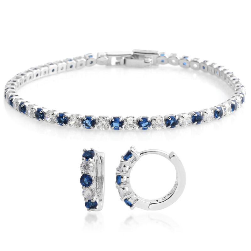 Fashion Created Sapphire Huggie Earrings Tennis Bracelet Set Gift Size 7