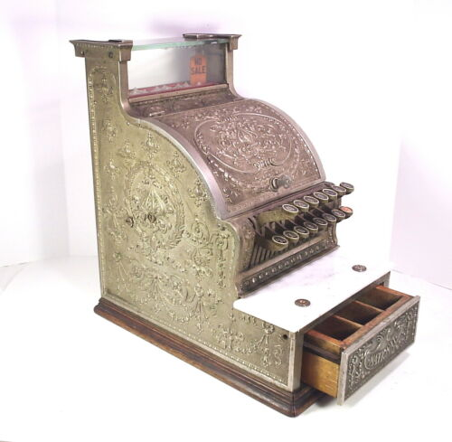 Antique National Cash Register Model 312 Nickel Finish Candy Store Barber Shop