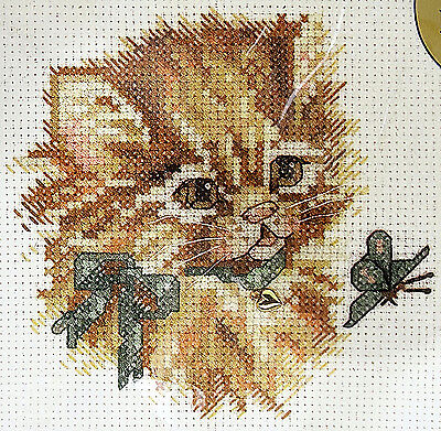 """Bucilla Counted Cross Stitch Kit NEW, 5"""" x 5"""" Size, Picture Purrfect, 42003"""