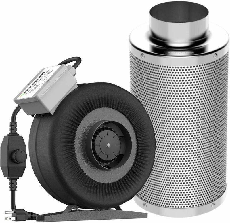 VIVOSUN 4In Inline Duct Fan w/Speed Controller Air Carbon Filter Scrubber Combo