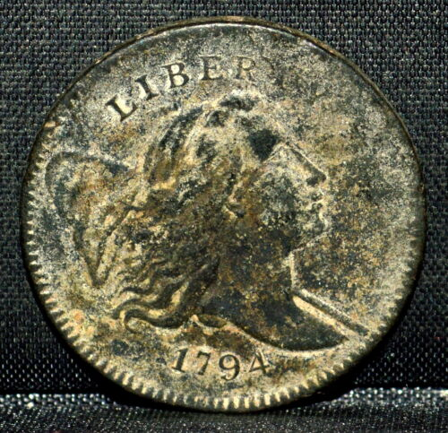1794 LIBERTY CAP HALF-CENT ✪ AU DETAILS ✪ 1/2C ALMOST UNCIRCULATED UNC ◢TRUSTED◣