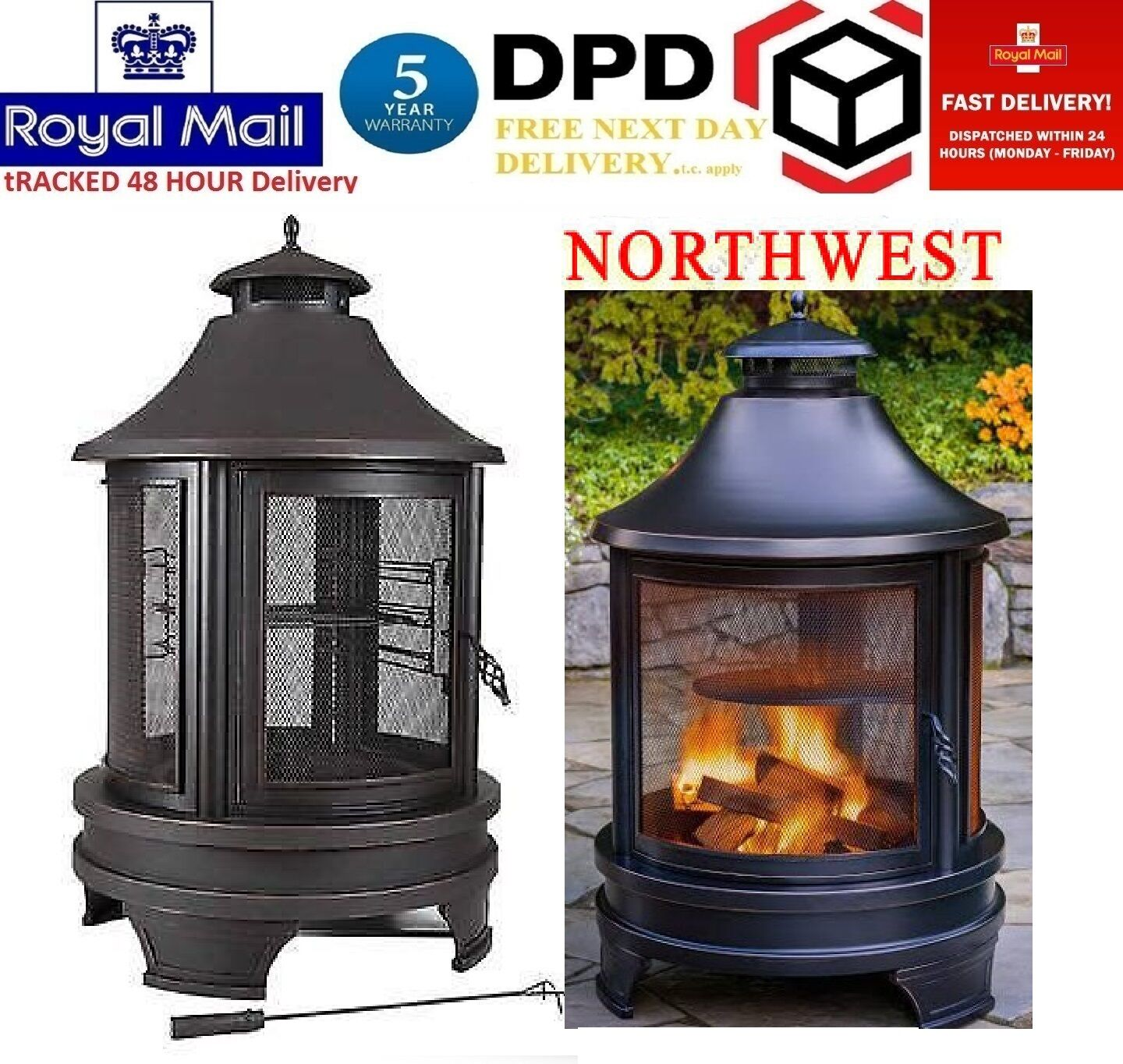 Northwest Sourcing Outdoor Log Burner Steel BBQ Cooking