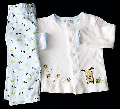 Snugabye Basic Baby boy 3-6 Months White with Dog Cotton 2PC outfit set.