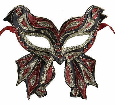 Mask from Venice Colombine Farfella Red Butterfly in Paper Mache 1792