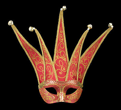 Mask from Venice Colombine Jolly Red Golden in 5 Spikes Paper Mache 22375