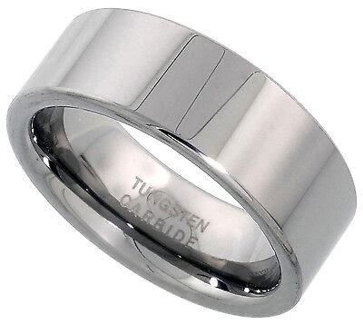- Tungsten Carbide Ring Men Women Wedding Band Plain Flat  Comfort Fit 8mm