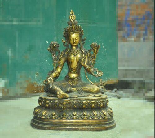 Tibetan Buddhism bronze 24k gold Gilt Green Tara Kwan-Yin GuanYin goddess statue