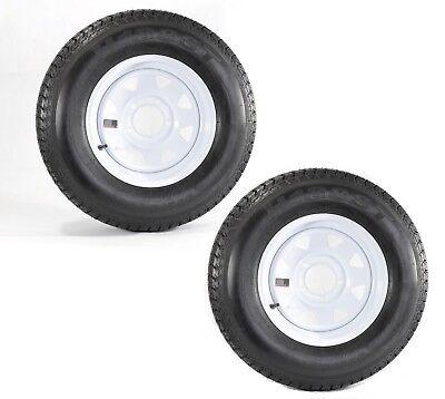 2-Pk Trailer Tires Rims ST175/80D13 175/80 13 B78-13 LRC 5 Lug White Spoke Wheel