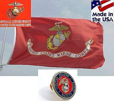 USA MADE OFFICIAL USMC EGA US Marine Corps DOUBLE(2)SIDED Heavy Duty FLAG&PIN