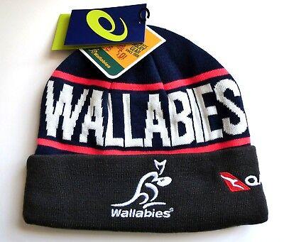 5994ee70737 ASICS Wallabies AUSTRALIA RUGBY Asphalt BEANIE HAT Toque Tags  Fleece Lined