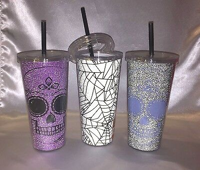 24 oz Double Wall GLITTERY TUMBLER HALLOWEEN SKULL Different Colors (Halloween Tumblers)