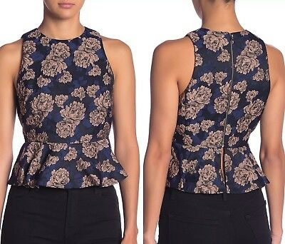 New Endless Rose Floral Brocade Peplum Tank Size Small Brocade Tank